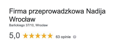 Firma przeprowadzki Wrocław - opinie w Google Moja Firma